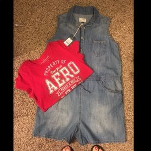 Denim Romper And A Red Aeropostale Tee Shirt